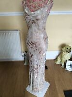 "monsoon beige gold floral Vienne Silk dress size 12 vgc Length 61"" Hols"