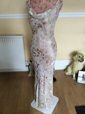"monsoon beige gold floral Silk dress 8  Long Length 60""  Ec Hols 9 May-16.6"