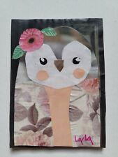 ORIGINAL ACEO Folk Art Bird Whimsical Paper Collage Boho Chic Penguin Owl Flower