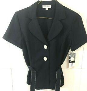 STUDIO One 2 Button Blazer Top 2 Pc Set Navy Blue Notch Lapel Womens Size 10