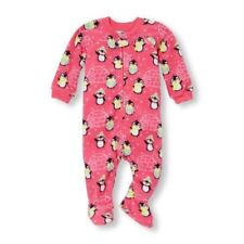 The Children's Place Girl's 3T Pink Holiday Winter Penguin Fleece Footed Sleeper