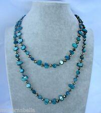 Naturale perle Collana Filo lungo madreperla,cristallo da donna, petrolio