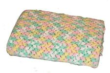 VINTAGE HOMEMADE AFGHAN pastel green pink yellow white swirl crocheted throw