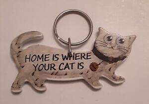 Home is where your Cat Is design Keyring, NEW  Cat Lover gift
