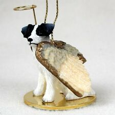 JACK RUSSELL Rough Black White Dog ANGEL Tiny One Ornament Figurine Statue