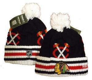 Chicago Blackhawks Mens Size OSFA Reebok Center Ice Cuffed Knit Beanie Hat $24
