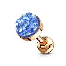 Rose Gold PVD Cartilage/Tragus Stud with Blue Druzy Stone Flat Set Top