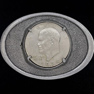 Eisenhower Dollar IKE Coin Gift Coins Currency 1970s Vintage Belt Buckle