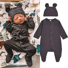 Newborn Infant Baby Boy Girl Solid Romper Jumpsuit+Hat Outfits 2PCS Clothes Set
