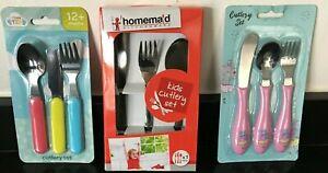 3 Piece Children's Kids Dinner Cutlery Set Knife Fork & Spoon - 2 years