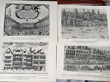 18 London Landmarks Shakespears Engraving Print 1935 Folger Library 16th Century