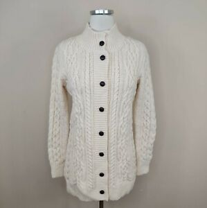 L.L. Bean Ireland Cable Knit Fisherman Cardigan Sweater Ivory Thick XS Womens