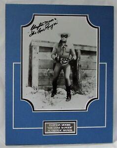 CLAYTON MOORE SIGNED THE LONE RANGER  ACTOR MATTED UNFRAMED AFTAL DEALER #199