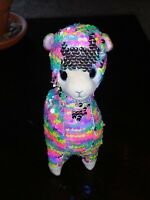 """2020 TY Flippables 8"""" LOLA Llama Beanie Boos Color Changing Sequin Plush"""