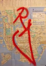 RD357 GRAFFITI sur plan de métro NYC /Subway Map/quik/seen/futura/taki/cope2/tag