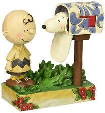 "Jim Shore for Enesco Peanuts Charlie Brown Snoopy Mailbox Figurine, 5"""