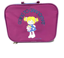 Vintage Going to Grandma's Kids Girls Purple Travel Suitcase Luggage