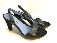 TSUBO black leather purple lined comfort ankle strap dancing sandals  8 FREESHIP