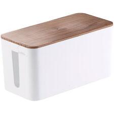 Callstel Kabelbox klein, 23 x 11,5 x 12 cm, Nussbaum-Holzoptik mit Gummifüßen