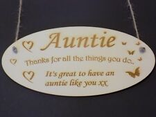 """""""Thanks Auntie"""" Family Wooden Gift Plaque family love Sign Rustic thank you aunt"""