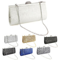 Lady Crystal Clasp Sparkle Glittered Clutch Bag Striking Bridal Prom Party Purse