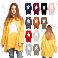 New Ladies Italian Star print OverSized Cotton Top Women Lagenlook Top Plus Size