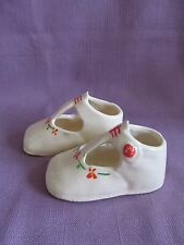 1 pair Porcelain Baby Shoes Flowers Off-White Cream Ceramic