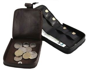 Mens Black Genuine Leather Coin Tray Wallet Notes Change Purse