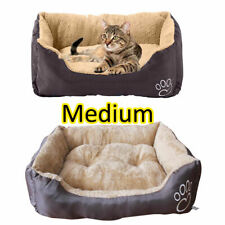 Pet Basket Warm Soft Comfy Fabric Washable Bed Fleece Cat Dog Pup Brown Grey