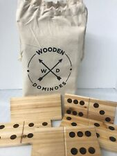 Jumbo Wooden Dominoes Refinery Game Set Canvas Carrying Bag 28-Piece