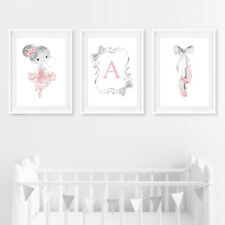 Pink & Grey Personalised Ballerina Baby Nursery Art Prints Decor Pictures Girl