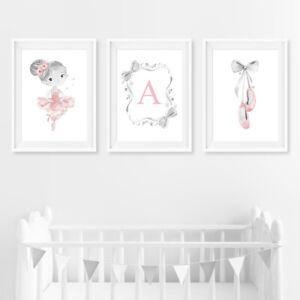 Pink & Grey Personalised Ballerina Baby Nursery Art Prints Decor Pictures Girl