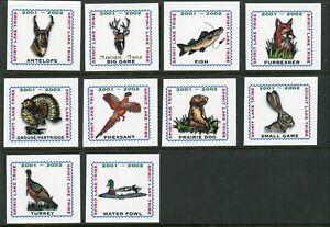 Spirit Lake Tribe Indian Reservation 2001-2002 set of 10 Hunting stamps