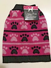 Dog Cat Puppy Pet Christmas Xmas Costume Clothes Ugly Sweater XS Paw Prints