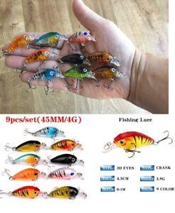 9 x Lot Fishing Lures Mini Fish Bass Trout Pike Crankbait Tackle Hooks Baits