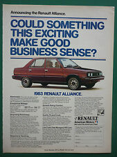 9/1982 PUB VOITURE AMERICAN MOTORS RENAULT ALLIANCE CAR WAGEN ORIGINAL AD