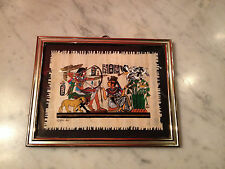 Vintage 1990 Signed Small Framed Egyptian Papyrus Painting