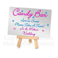 Personalised Metal Plaque Mini Wooden Easel Candy Bar Sweet Table Wedding Sign