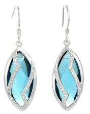 """925 Sterling Silver Blue Chrystal & CZ 1-1/2"""" Earrings"""