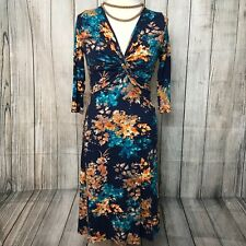 Beautiful Blue Orange Stretchy Floral JOE BROWNS Knotted Dress Size 8