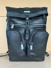 Tumi Alpha Bravo London Roll Top backpack Leather Distressed Black 932388 Bag