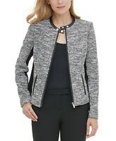 Calvin Klein Tweed Moto Jacket MSRP $139 Size 12 # 6B 963 NEW