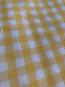 5 2/3 yards Vintage Gingham Check Fabric Yellow And White Lot
