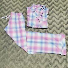 Victoria Secret Womens Size S Pastel Pink Blue Purple Long Sleeve Pajama Set