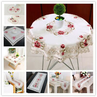 White Embroidered Floral Lace Tablecloth Small Table Cloth Wedding Party Decor
