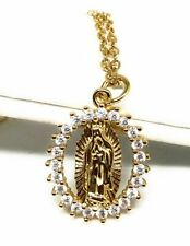 "Gold Plated Virgen De Guadalupe Medalla Virgin Mary Pendant Necklace 20"" Chain"