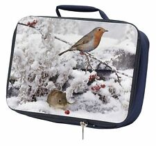 More details for snow mouse and robin print navy insulated school lunch box bag, amo-5lbn