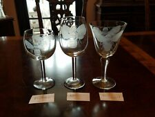 Wine or water glasses goblets large grey cut etched Bee 3 sizes to choose from