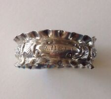 "ANTIQUE ENGLISH HALLMARKED BIRMINGHAM STERLING RUFFLED NAPKIN RING ""A. BELL"""