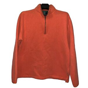 Woolrich 1/4 Zip Pullover Jacket Mens Size Large L Salmon Cotton Poly Blend